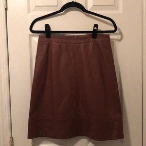 Halogen brown a-line leather skirt